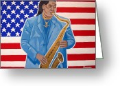 Bruce Springsteen Painting Greeting Cards - The Late Great Clarence Clemons Greeting Card by Eamon Reilly