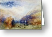 Romanticist Greeting Cards - The Lauerzersee with the Mythens Greeting Card by Joseph Mallord William Turner