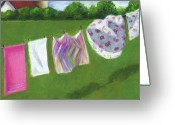 Outdoors Pastels Greeting Cards - The Laundry on the Line Greeting Card by Joyce Geleynse
