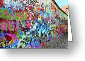 Karluv Most Greeting Cards - The Lennon Wall Greeting Card by Mariola Bitner