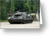Belgian Army Greeting Cards - The Leopard 1a5 Mbt Of The Belgian Army Greeting Card by Luc De Jaeger