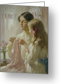 Edwardian Greeting Cards - The Lesson Greeting Card by William Kay Blacklock