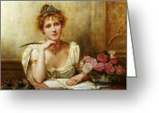 Love Letter Greeting Cards - The Letter Greeting Card by George Goodwin Kilbourne