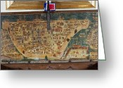 Diagrams Greeting Cards - The Lid Of A Chest Bears A Map Greeting Card by Sisse Brimberg