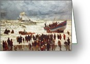 Saving Greeting Cards - The Lifeboat Greeting Card by William Lionel Wyllie