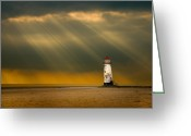 Threatening Greeting Cards - The Lighthouse As The Storm Breaks Greeting Card by Meirion Matthias