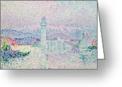 Pointillist Painting Greeting Cards - The Lighthouse at Antibes Greeting Card by Paul Signac