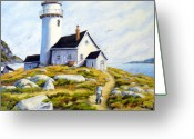 Labour Greeting Cards - The Lighthouse Keeper Greeting Card by Richard T Pranke