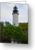 Key West Island Greeting Cards - The Lighthouse on Key West Florida Greeting Card by Bill Cannon