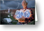 Woman Greeting Cards - The Lightning Catchers Greeting Card by Bryan Allen