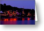 "\""boathouse Row\\\"" Greeting Cards - The Lights of Boathouse Row Greeting Card by Bill Cannon"