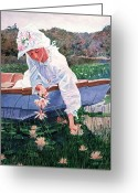 Most Painting Greeting Cards - The Lily Gatherer Greeting Card by David Lloyd Glover