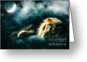 Starry Digital Art Greeting Cards - The Lion Sleeps Tonight Greeting Card by Datha Thompson