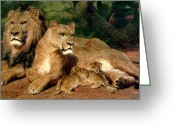 Cubs Painting Greeting Cards - The Lions at Home Greeting Card by Rosa Bonheur