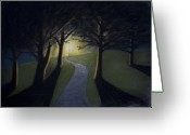 Lit Pastels Greeting Cards - The Lit Path Greeting Card by Michael Williams