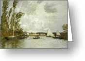 Signed Painting Greeting Cards - The Little Branch of the Seine at Argenteuil Greeting Card by Claude Monet