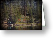 Water Reflections Greeting Cards - The Little Cabin Greeting Card by Laurie Search