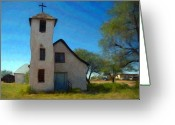 Outdoors Pastels Greeting Cards - The Little Church Greeting Card by Snake Jagger
