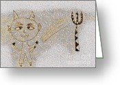 Gold Lame Painting Greeting Cards - The little devil Greeting Card by Odon Czintos