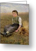 Hay Painting Greeting Cards - The Little Gleaner Greeting Card by Hugo Salmon