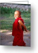 Burma Greeting Cards - The little monk of Mingun Greeting Card by RicardMN Photography