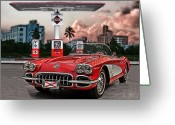 Red Car Greeting Cards - The Little Red Greeting Card by Joachim G Pinkawa