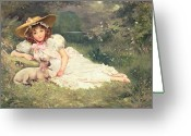 Lambing Greeting Cards - The Little Shepherdess Greeting Card by Arthur Dampier May