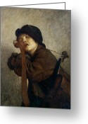 Daydream Greeting Cards - The Little Violinist Sleeping Greeting Card by Antoine Auguste Ernest Hebert