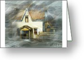 Ontario Mixed Media Greeting Cards - The Little White House On Hwy 6 Greeting Card by Bob Salo