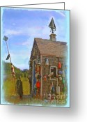 Weathervane Greeting Cards - The Lobster Fishing Shanty Greeting Card by Earl Jackson