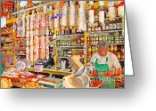 Little Italy Greeting Cards - The Local Deli Greeting Card by Wingsdomain Art and Photography