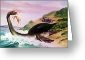 Horror Car Greeting Cards - The Loch Ness Monster Greeting Card by Gino DAchille