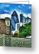 Award Digital Art Greeting Cards - The London Gherkin  Greeting Card by Steve Taylor