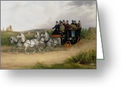 Puddle Painting Greeting Cards - The London to Brighton Stage Coach Greeting Card by William Joseph Shayer