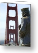 Golden Digital Art Greeting Cards - The Lone Sailor Greeting Card by Mike McGlothlen