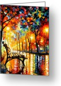 Landscape Greeting Cards - The Loneliness Of Autumn Greeting Card by Leonid Afremov