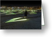 Bench Greeting Cards - The Lonely Tourist at Pentagon Memorial Greeting Card by Metro DC Photography