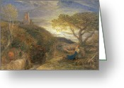 Sat Greeting Cards - The Lonely Tower Greeting Card by Samuel Palmer