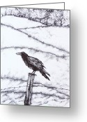 Raven Drawings Greeting Cards - The long long winter Greeting Card by Anna  Duyunova