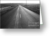Hill Photographs Greeting Cards - The Long Road Home . 7D9903 . Black and White Greeting Card by Wingsdomain Art and Photography