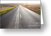 Old Country Roads Greeting Cards - The Long Road Home . 7D9903 Greeting Card by Wingsdomain Art and Photography