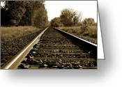 Train Track Greeting Cards - The Long Road Home Greeting Card by Edward Congdon