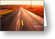 Francis Digital Art Greeting Cards - The Long Road Home . Painterly Style . Wide Size Greeting Card by Wingsdomain Art and Photography