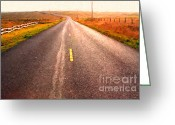 Francis Digital Art Greeting Cards - The Long Road Home . Painterly Style Greeting Card by Wingsdomain Art and Photography