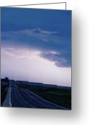 Lightning Bolt Pictures Greeting Cards - The Long Road Into the Storm Greeting Card by James Bo Insogna