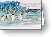 Antarctica Greeting Cards - The Long Walk 2 Greeting Card by Carolyn Doe