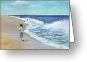 Waves Pastels Greeting Cards - The Long Walk Greeting Card by Helen Hammerman