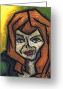 Oil Pastel Greeting Cards - The Look Greeting Card by Kamil Swiatek