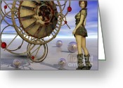 Steampunk Digital Art Greeting Cards - The Looking Glass Greeting Card by Sandra Bauser Digital Art