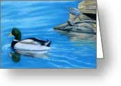 Lakes Pastels Greeting Cards - The Lookout Greeting Card by Jan Amiss
